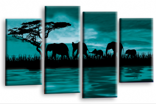 Sunset Elephant Canvas Wall Art Picture Teal Brown Cream